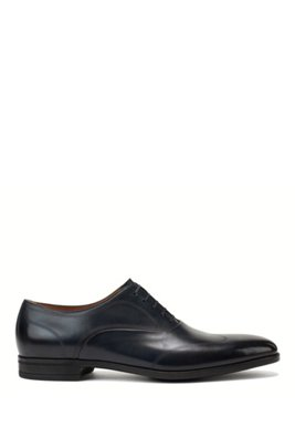 Italian-made Oxford shoes in polished calf leather, Dark Blue
