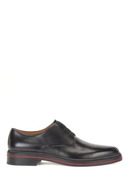 Italian-made leather Derby shoes with contrast mid-sole, Black