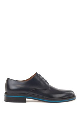 Italian-made leather Derby shoes with contrast mid-sole, Dark Blue