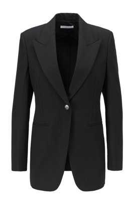 Relaxed-fit jacket in stretch twill with peak lapels, Black