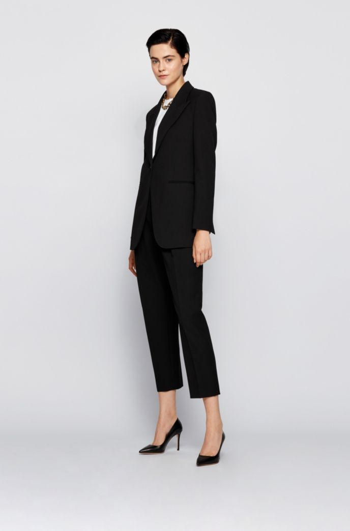 Relaxed-fit jacket in stretch twill with peak lapels