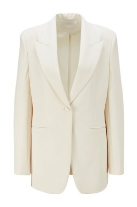 Veste Relaxed Fit en twill stretch à revers en pointe, Blanc