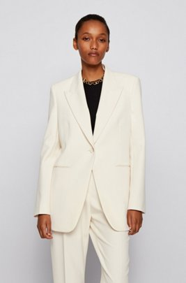 Relaxed-fit jacket in stretch twill with peak lapels, White