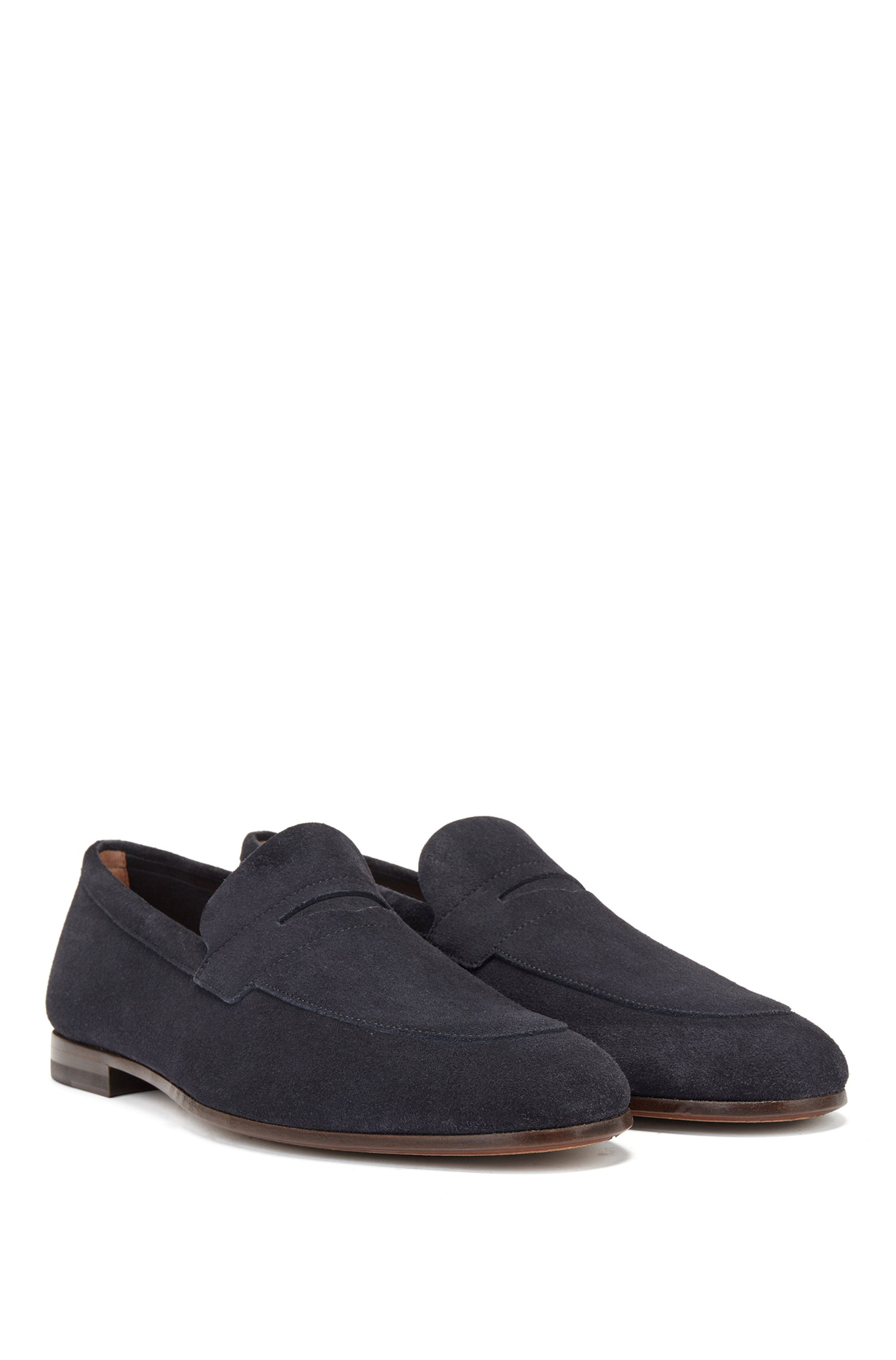 Italian-made suede loafers with penny trim