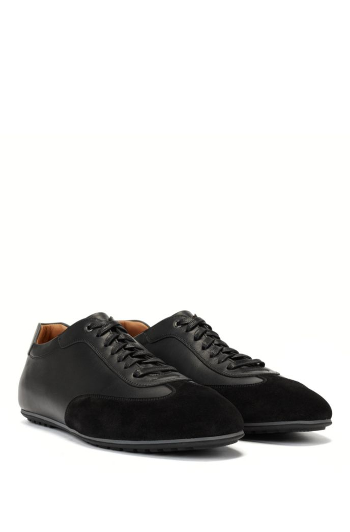 Italian-made low-profile trainers in mixed leathers