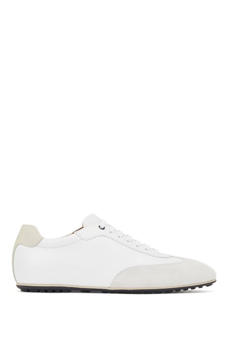 Italian-made low-profile trainers in mixed leathers, White