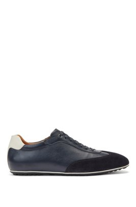Italian-made low-profile trainers in mixed leathers, Dark Blue