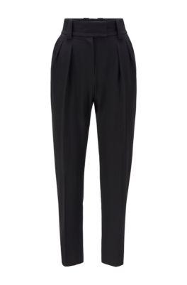 Pantalon court Relaxed Fit en twill stretch, Noir