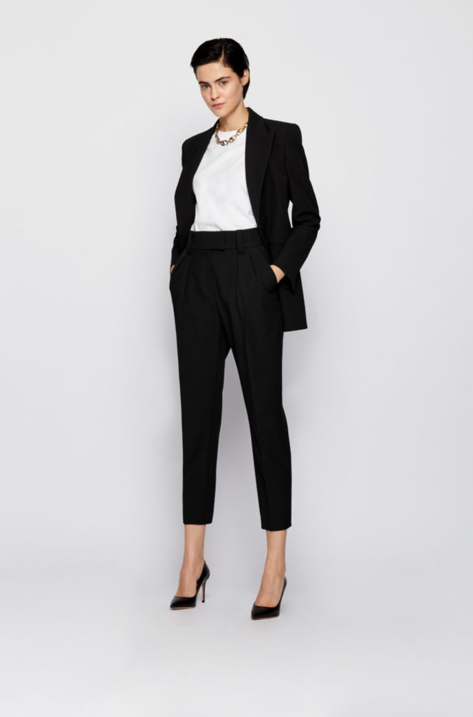 Kortere relaxed-fit broek in een stretchtwill