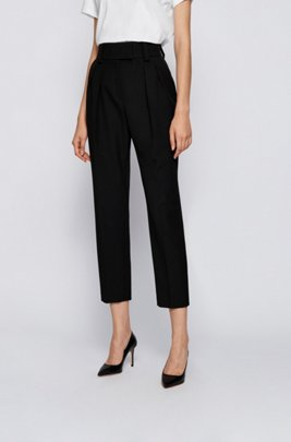 Relaxed-fit cropped trousers in stretch twill, Black