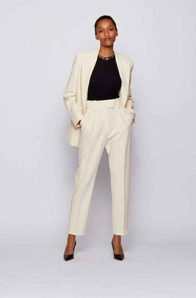 Relaxed-fit cropped trousers in stretch twill