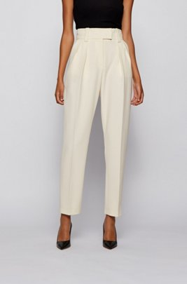 Relaxed-fit cropped trousers in stretch twill, White