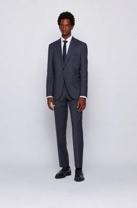 Regular-fit suit in micro-patterned virgin-wool serge, Dark Blue