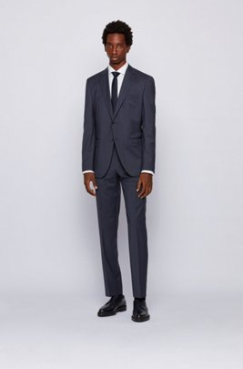Regular-fit suit in micro-patterned virgin-wool serge, Dark Blue