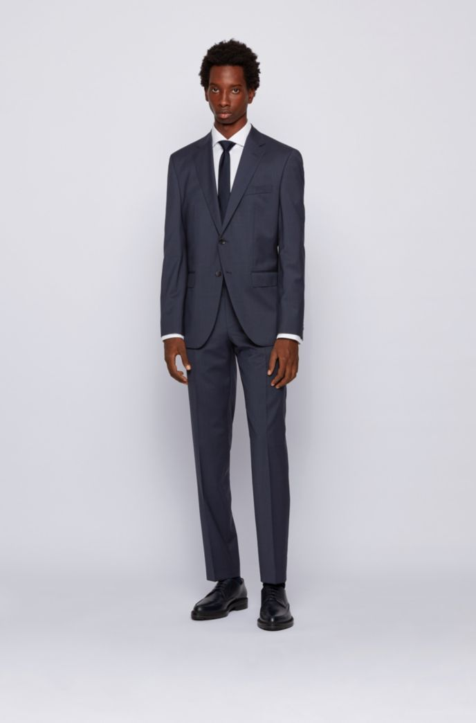 Regular-fit suit in micro-patterned virgin-wool serge