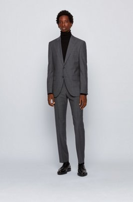 Regular-fit suit in micro-patterned virgin-wool serge, Grey
