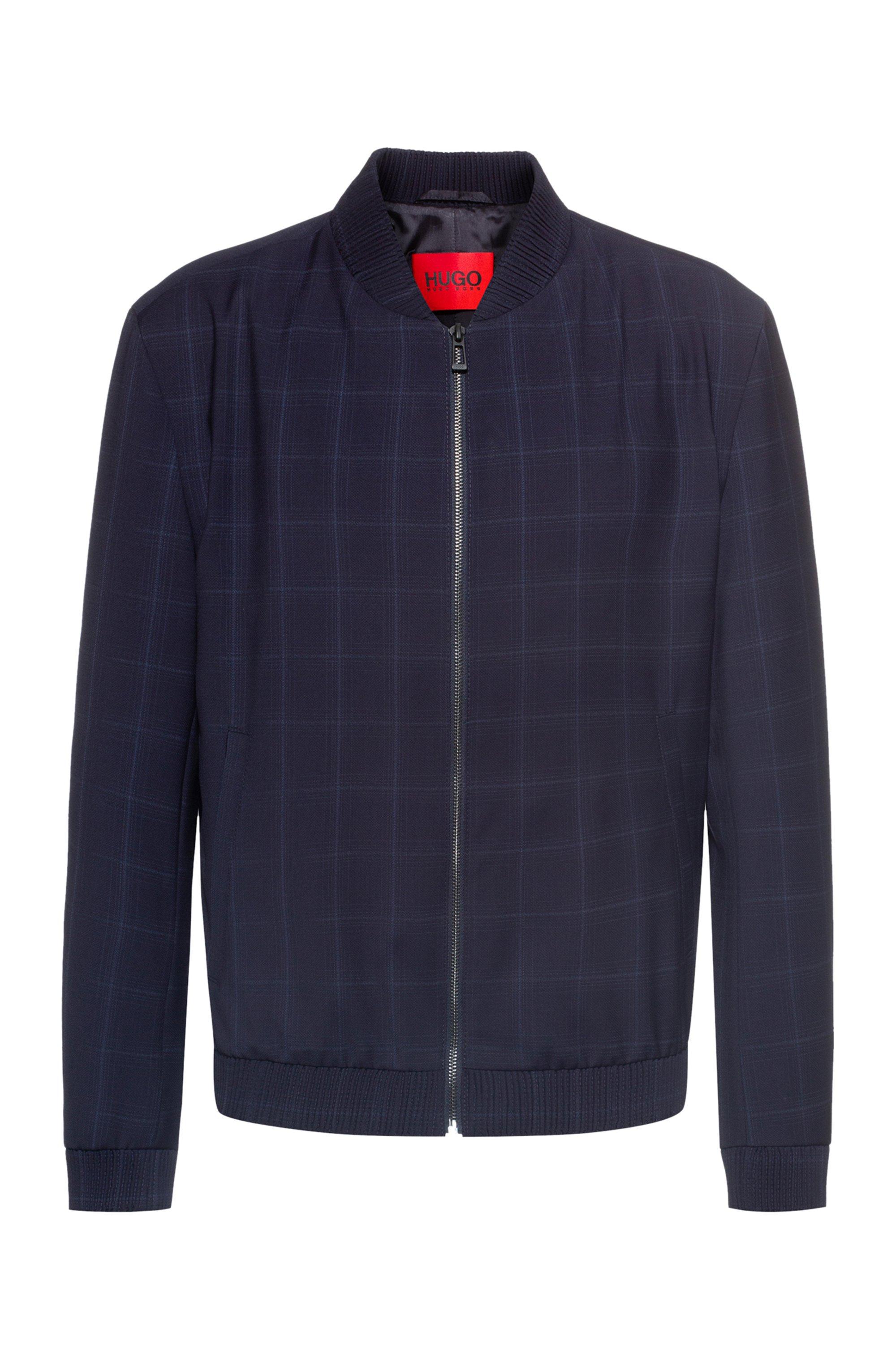 Extra-slim-fit jacket in virgin-wool serge, Dark Blue