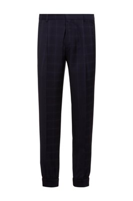 Extra-slim-fit virgin-wool trousers with cuffed hems, Dark Blue