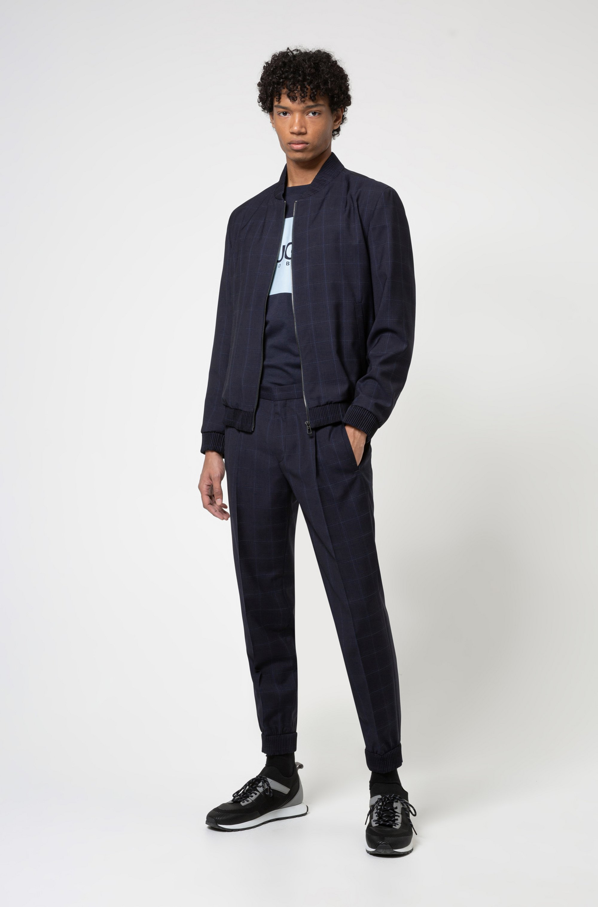 Extra-slim-fit virgin-wool trousers with cuffed hems