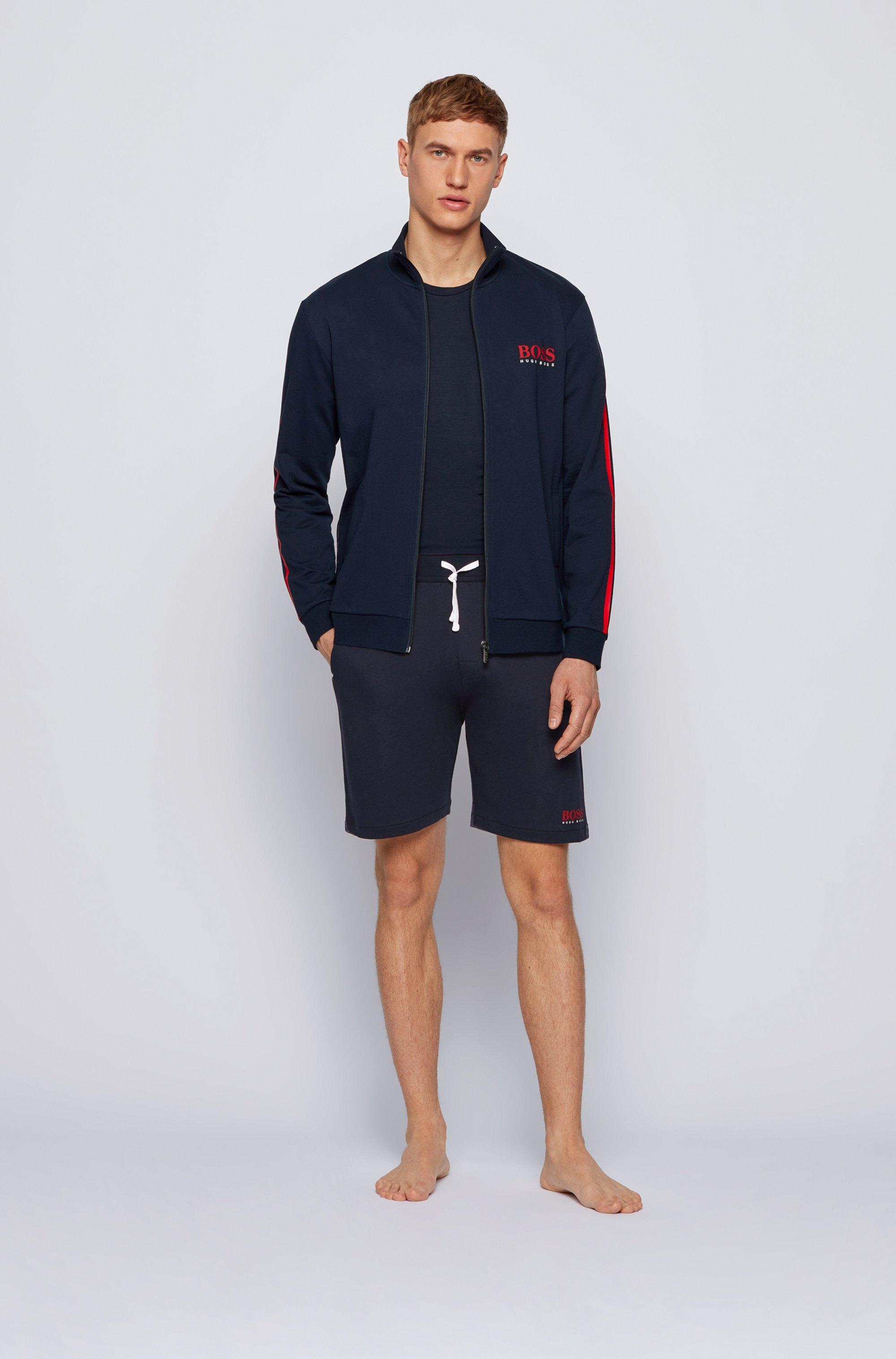 Loungewear-Shorts aus Baumwolle mit kontrastfarbenem Tape und Logo