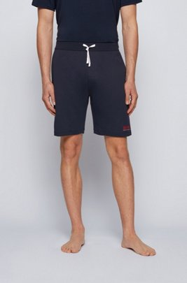 Loungewear-Shorts aus Baumwolle mit kontrastfarbenem Tape und Logo, Dunkelblau