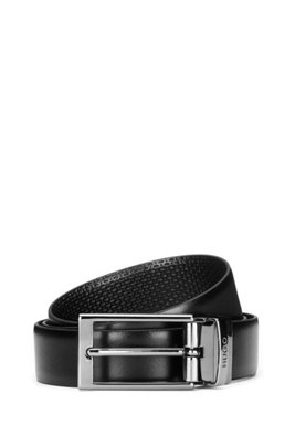 Reversible belt in leather with logo keeper, Black