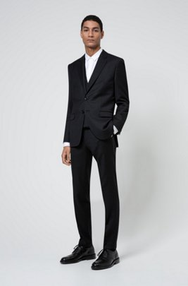 Extra-slim-fit three-piece suit in virgin wool, Black