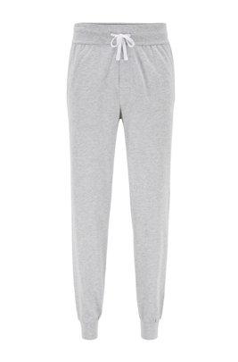 Jogginghose aus Baumwolle mit kontrastfarbenem Tape und Logo, Grau