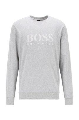 Sweatshirt aus French Terry mit gestreiftem Logo und Kontrast-Tape, Grau