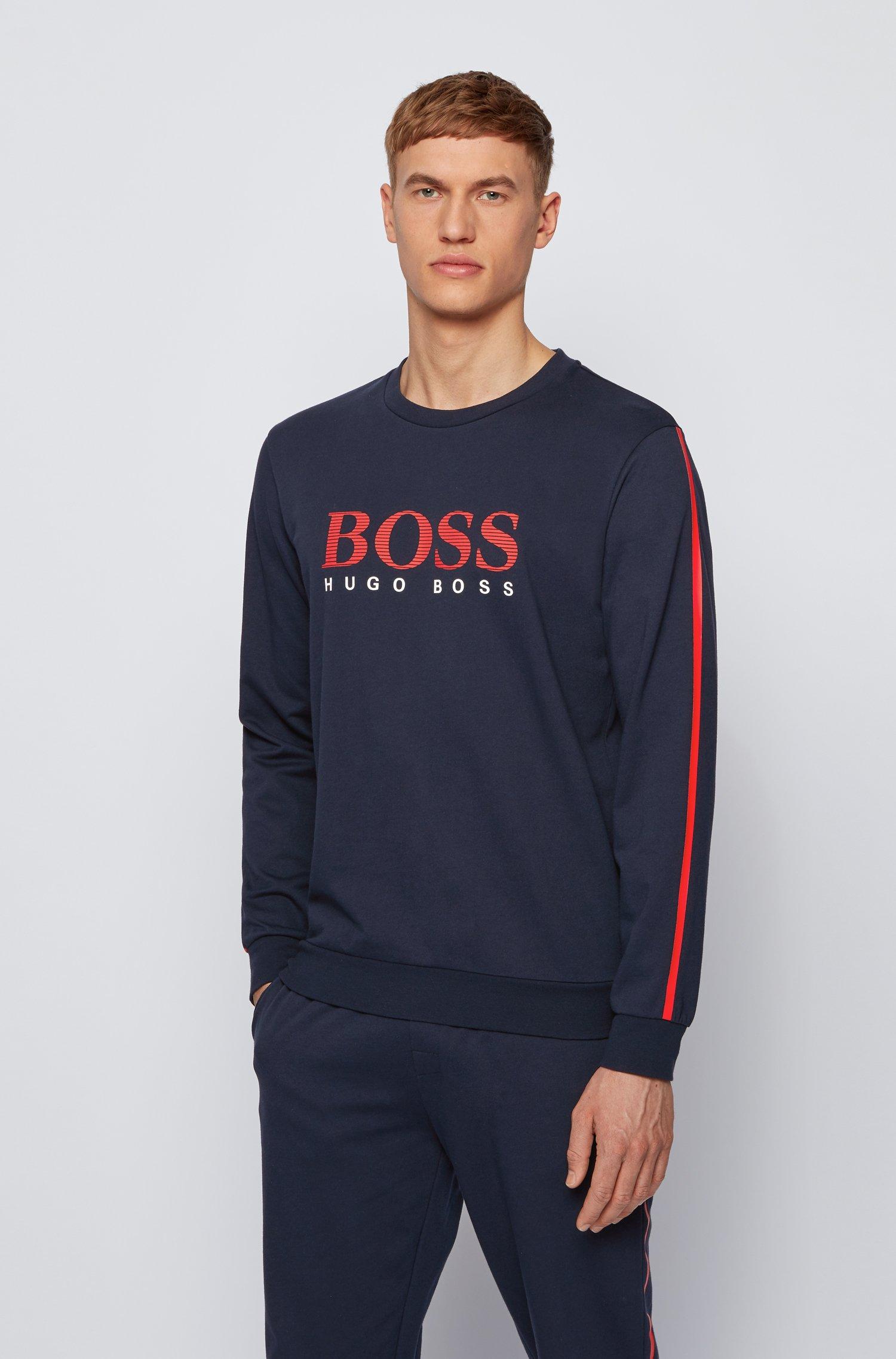 Sweatshirt aus French Terry mit gestreiftem Logo und Kontrast-Tape, Dunkelblau