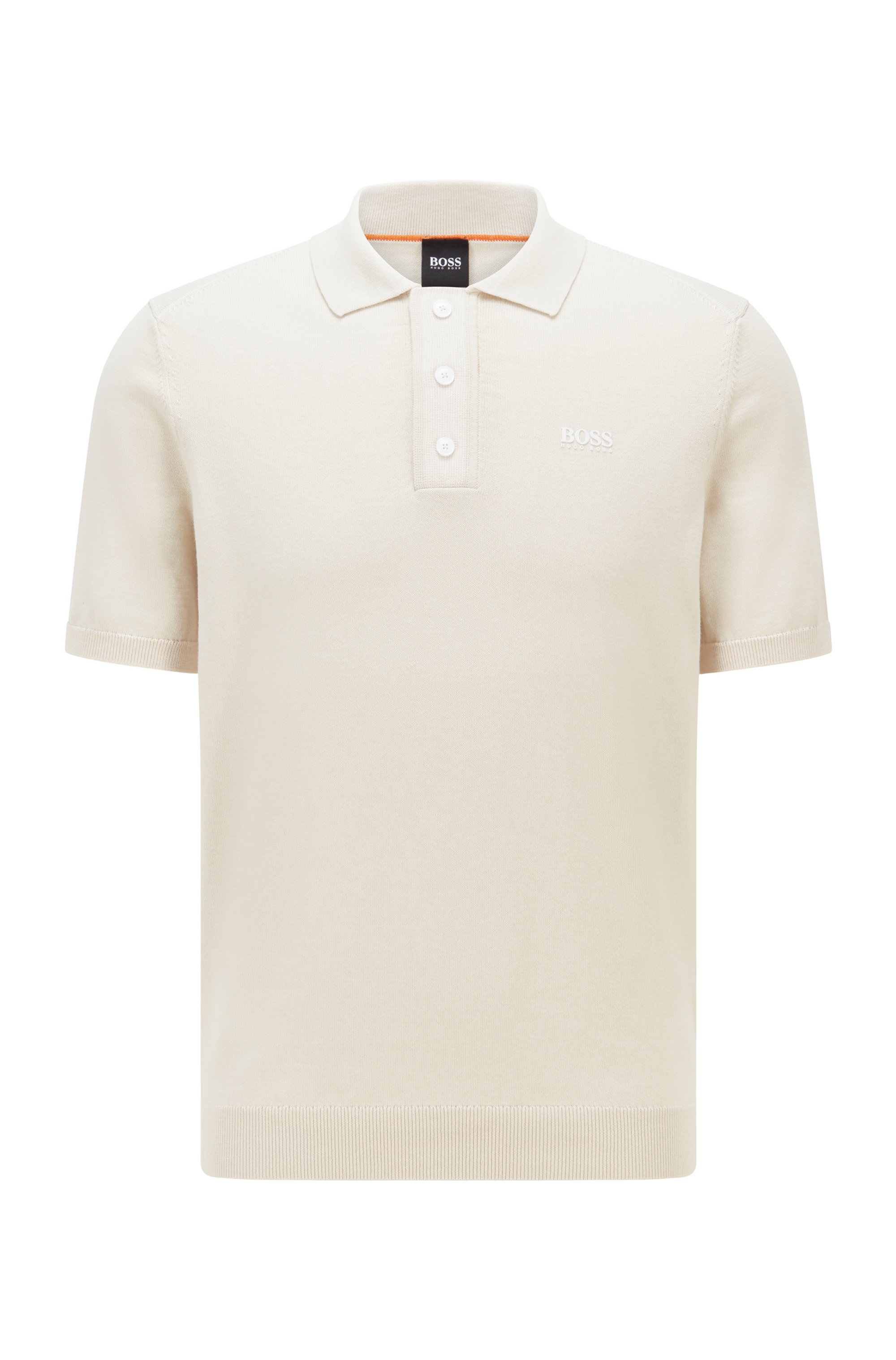 Regular-fit polo sweater with logo transfer, Light Beige