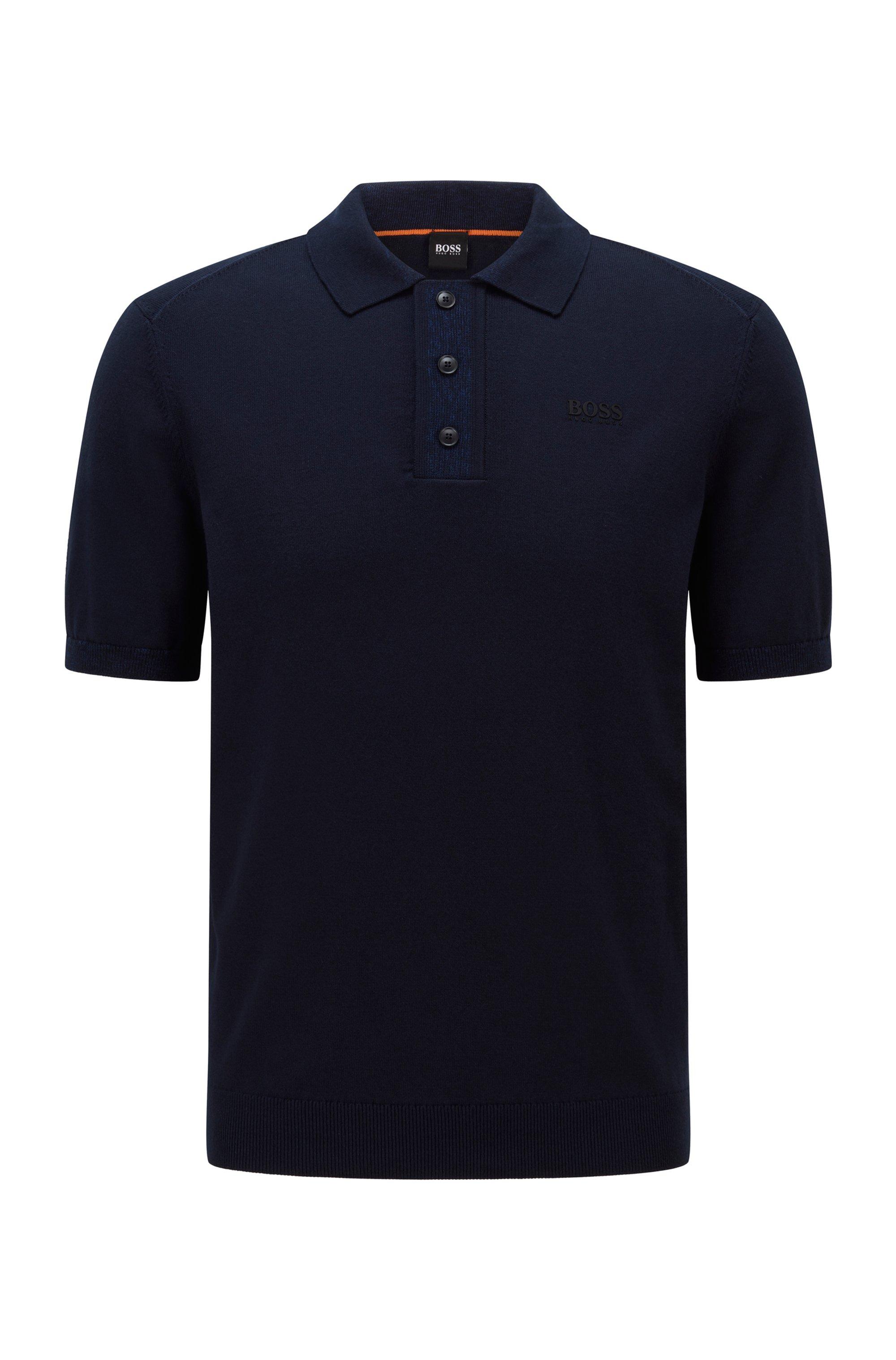 Regular-Fit Pullover mit Transferdruck-Logo und Polokragen, Dunkelblau
