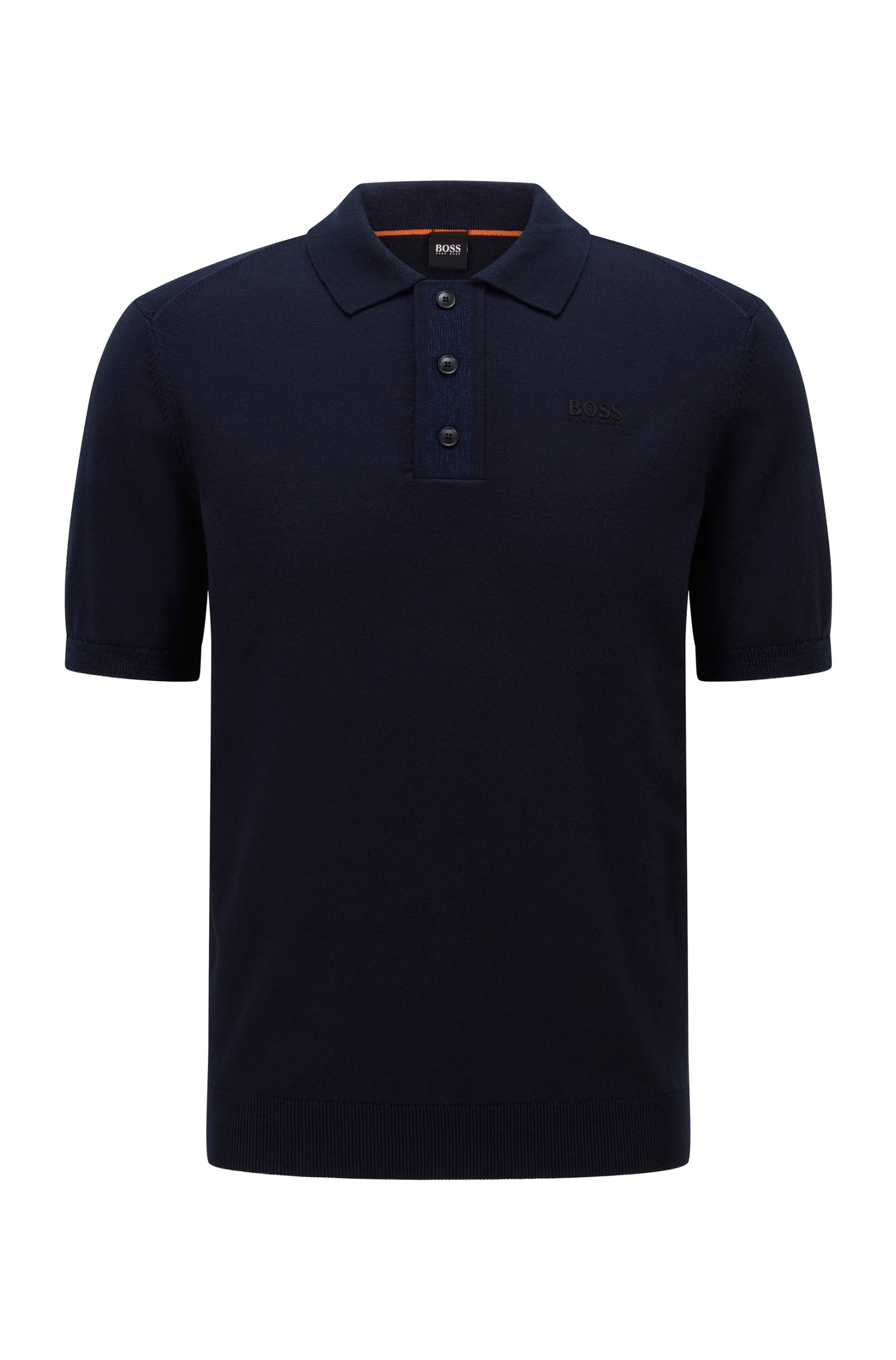 Regular-fit polo sweater with logo transfer, Dark Blue