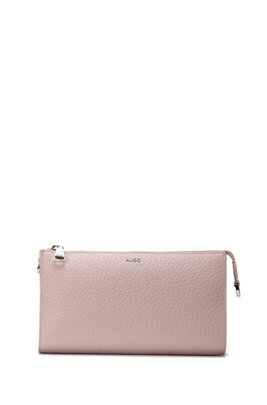 Grained-leather mini bag with detachable rope strap, Light Beige