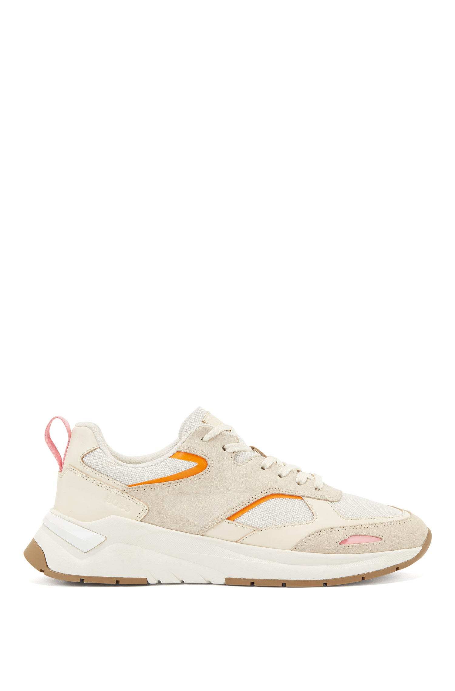 Mixed-material trainers with pop-colour accents, White