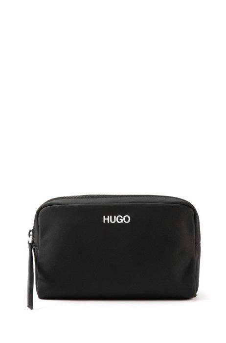 Ziparound vanity bag with contrast logo, Black