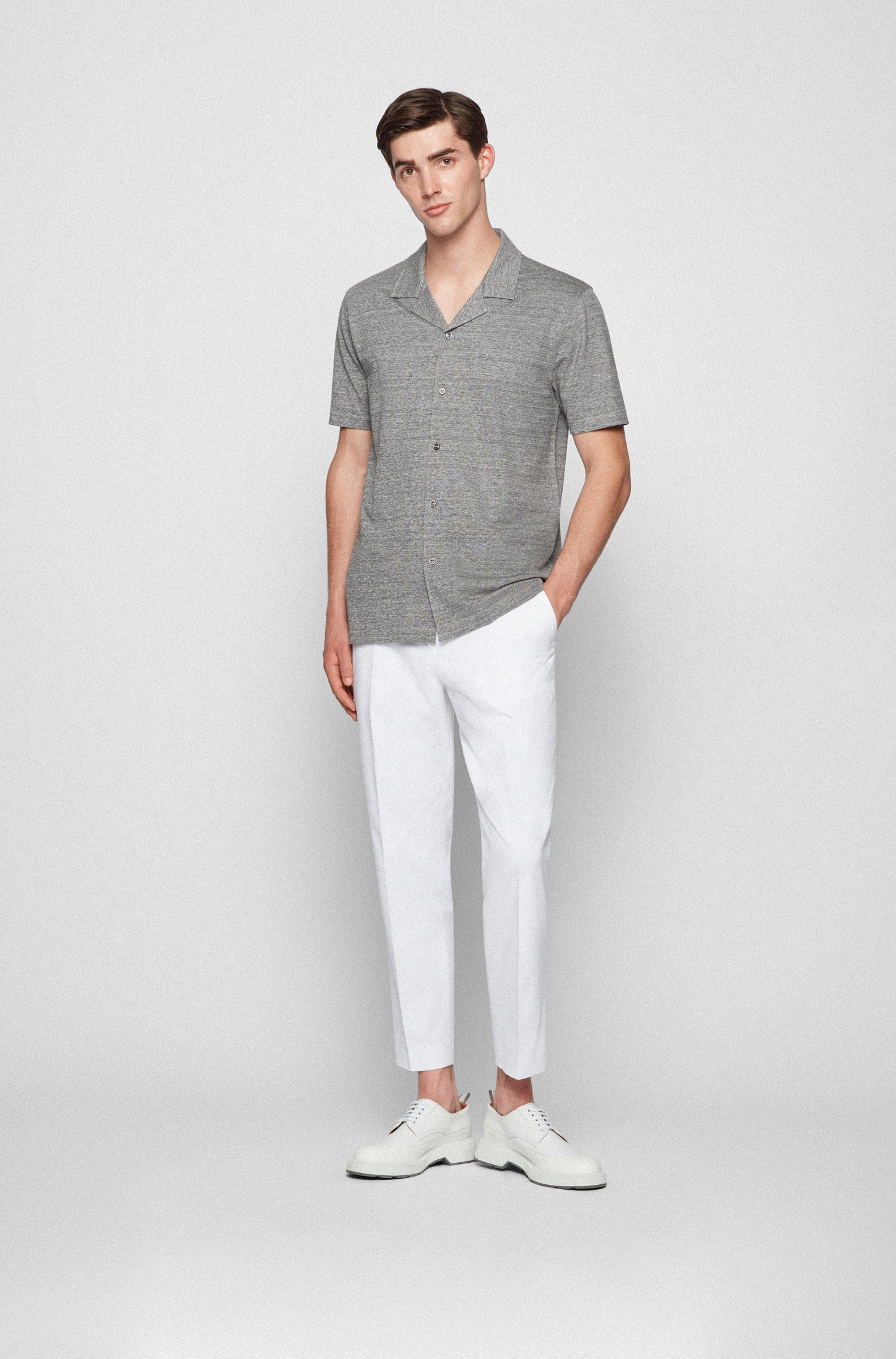 Slim-fit short-sleeved shirt in melange jersey