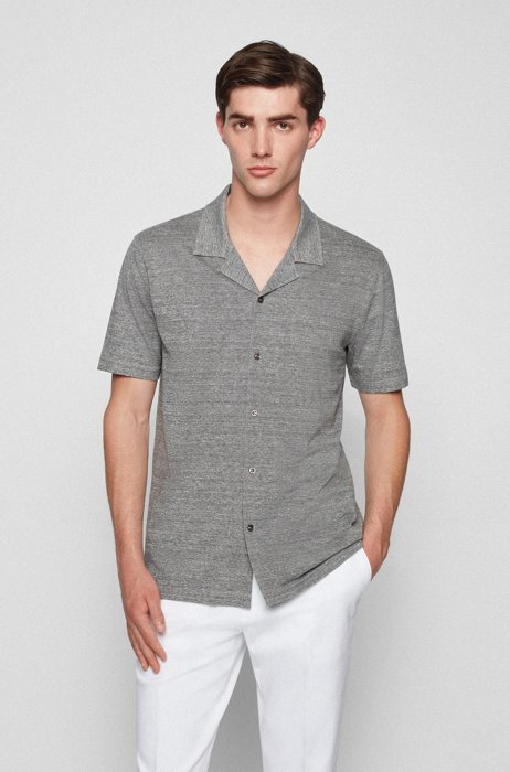 Slim-fit short-sleeved shirt in melange jersey, Dark Grey