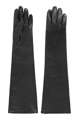 Long-line gloves in nappa leather, Black