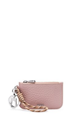 Key ring with rope strap and leather pouch, Light Beige