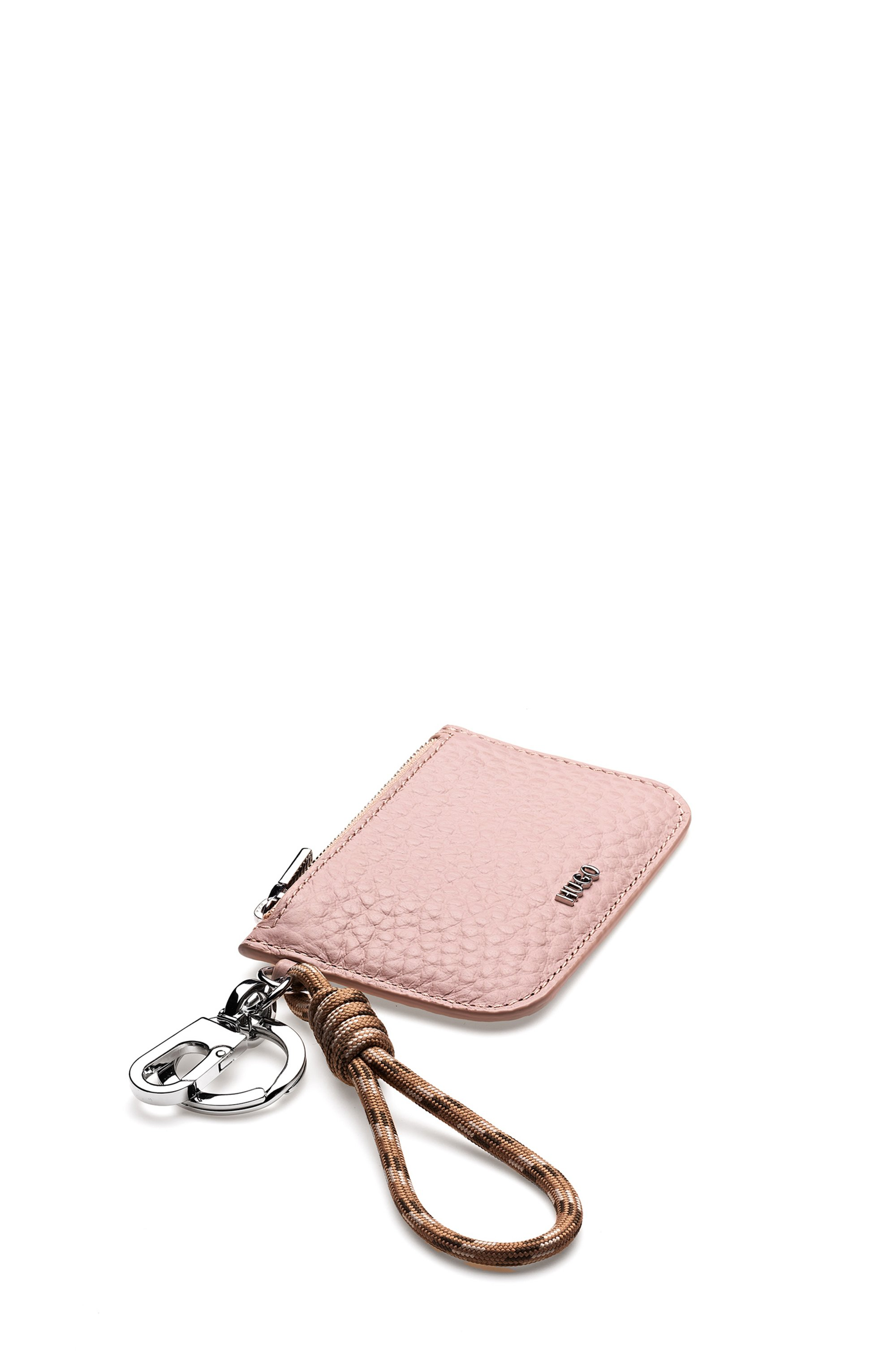 Key ring with rope strap and leather pouch