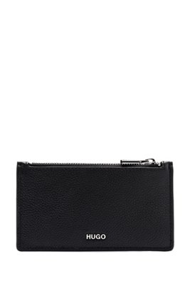 Card holder in grained leather with metal logo lettering, Black