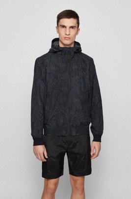 Water-repellent hooded jacket with crinkle-effect print, Black