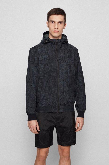 Water-repellent hooded jacket with crinkle-effect print, Black