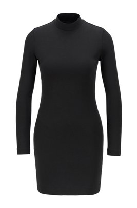 High-neck jersey dress with open back, Black