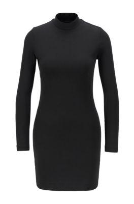 Robe en jersey à col montant et dos ouvert, Noir