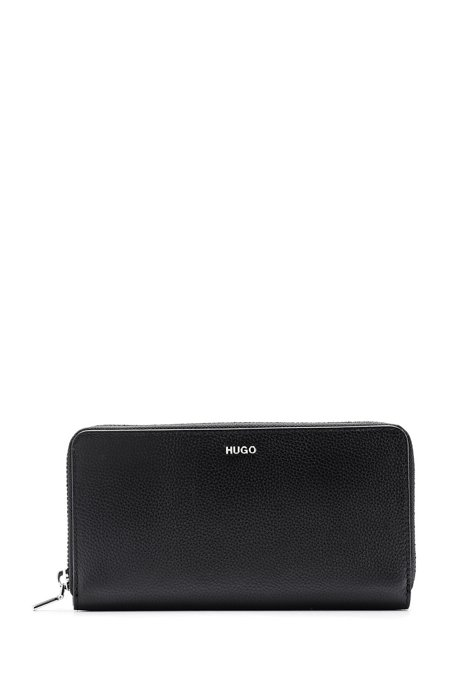 Ziparound wallet in grained leather with metal logo lettering, Black