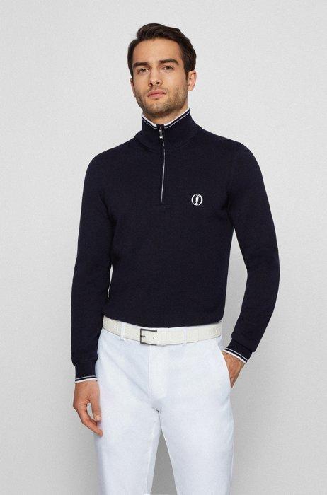 Water-repellent zip-neck sweater in organic cotton, Dark Blue
