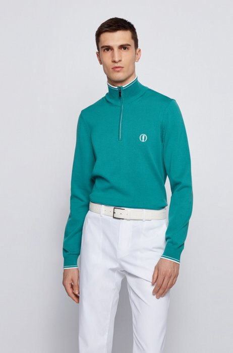 Water-repellent zip-neck sweater in organic cotton, Turquoise