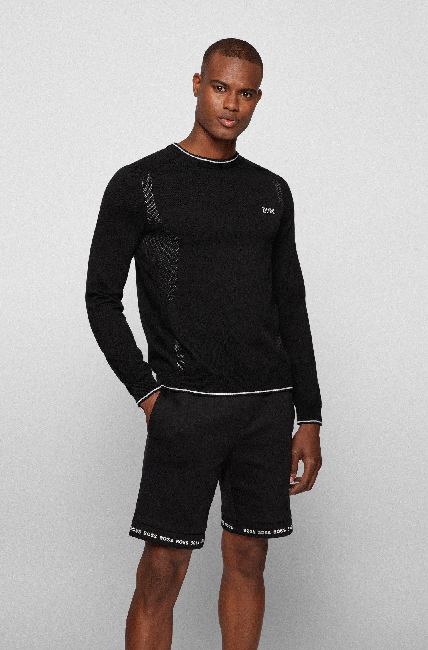 Mesh-detail logo sweater in organic cotton, Black